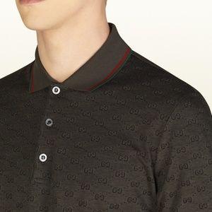 124336b19 Gucci Shirts | Military Green Gg Jacquard Polo Shirt Nwt | Poshmark